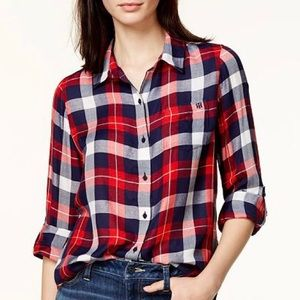 Tommy Hilfiger Plaid Flannel Button Up Utility Top